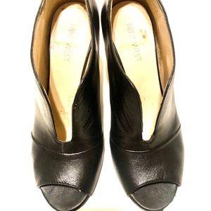Nine West black open toed heels